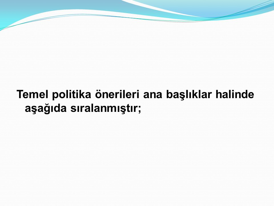 Temel politika önerileri ana başlıklar halinde aşağıda sıralanmıştır;
