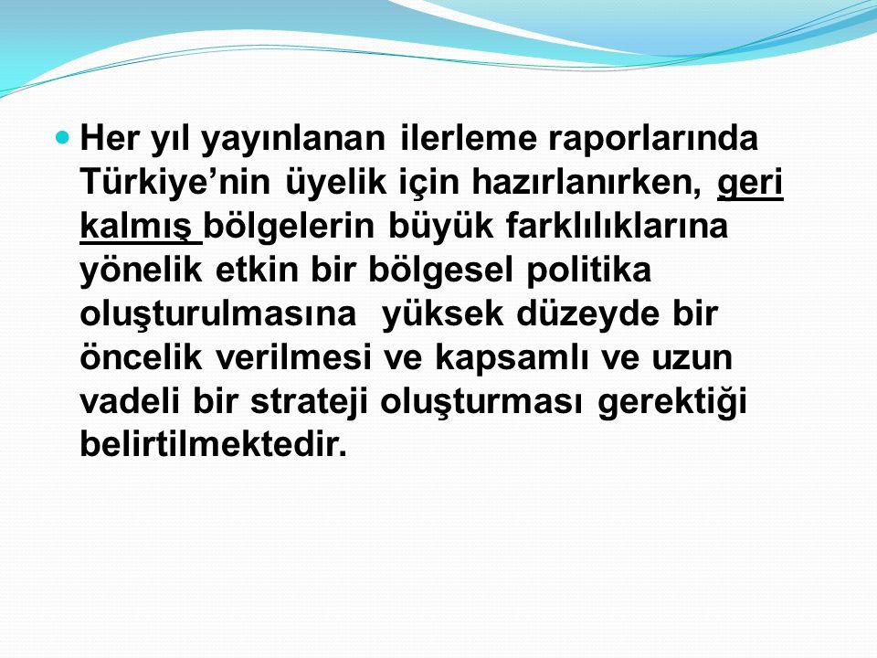 Her yıl yayınlanan ilerleme raporlarında Türkiye'nin üyelik için hazırlanırken, geri kalmış bölgelerin büyük farklılıklarına yönelik etkin bir bölgesel politika oluşturulmasına yüksek düzeyde bir öncelik verilmesi ve kapsamlı ve uzun vadeli bir strateji oluşturması gerektiği belirtilmektedir.