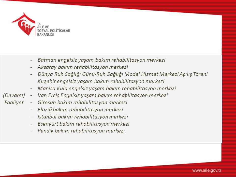 (Devamı) Faaliyet. Batman engelsiz yaşam bakım rehabilitasyon merkezi. Aksaray bakım rehabilitasyon merkezi.