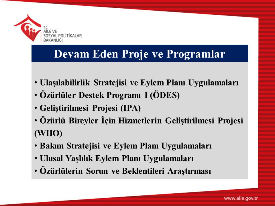 Devam Eden Proje ve Programlar