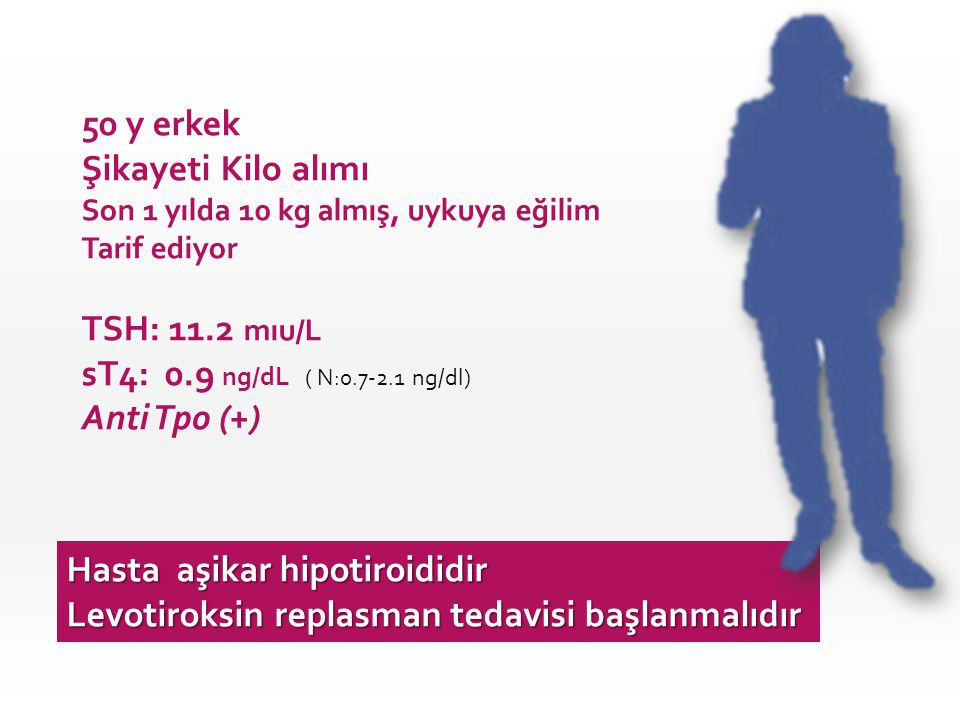Hasta aşikar hipotiroididir