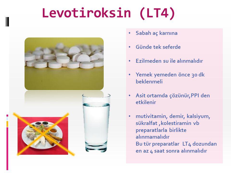 Levotiroksin (LT4) Sabah aç karnına Günde tek seferde