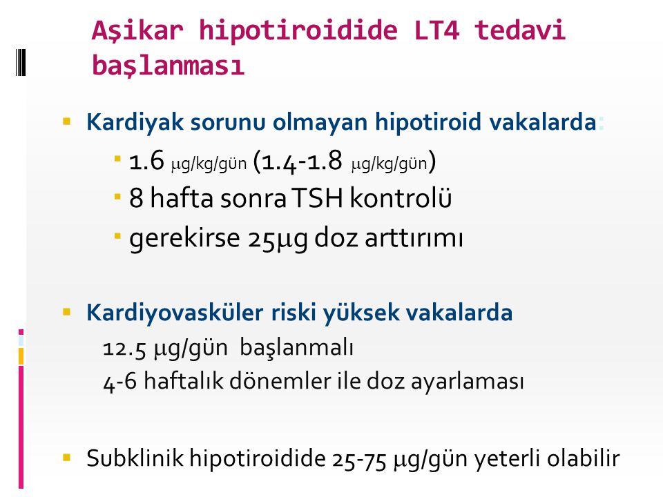 Aşikar hipotiroidide LT4 tedavi başlanması
