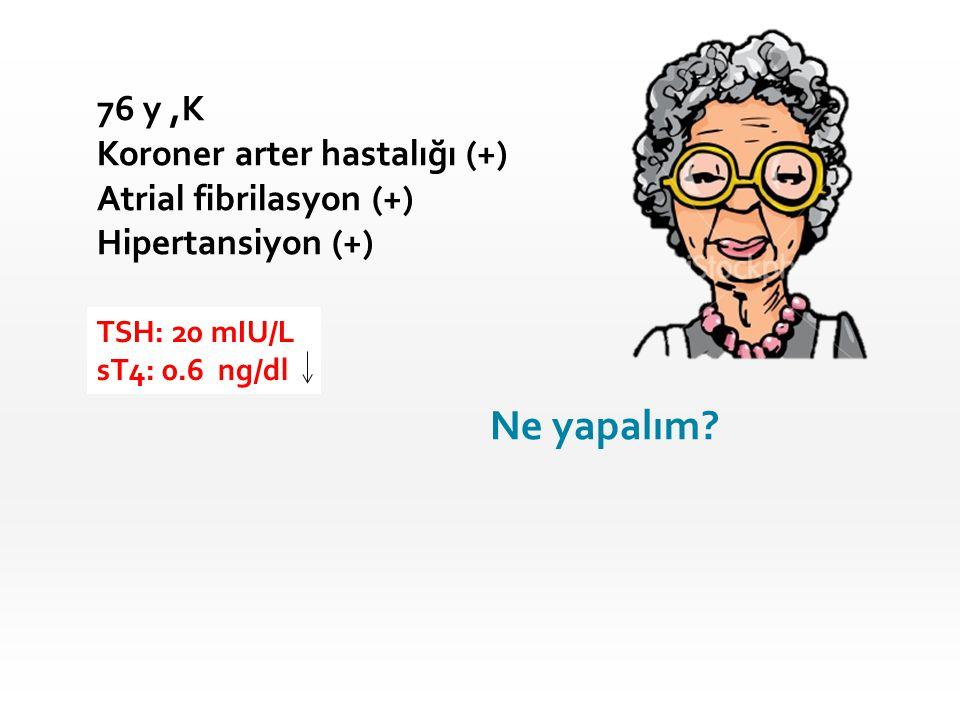 Ne yapalım 76 y ,K Koroner arter hastalığı (+) Atrial fibrilasyon (+)