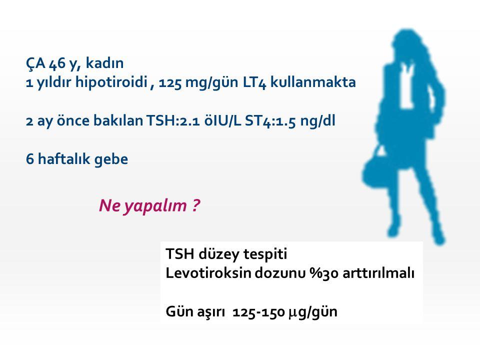 ÇA 46 y, kadın 1 yıldır hipotiroidi , 125 mg/gün LT4 kullanmakta. 2 ay önce bakılan TSH:2.1 öIU/L ST4:1.5 ng/dl.