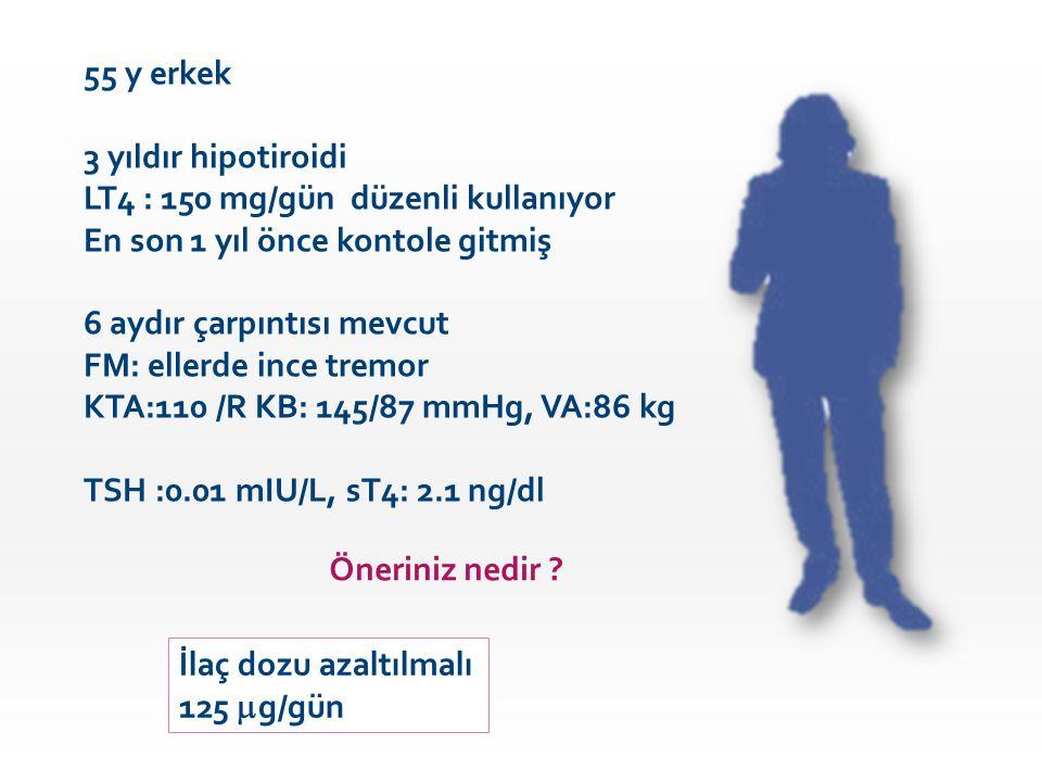 55 y erkek 3 yıldır hipotiroidi. LT4 : 150 mg/gün düzenli kullanıyor. En son 1 yıl önce kontole gitmiş.