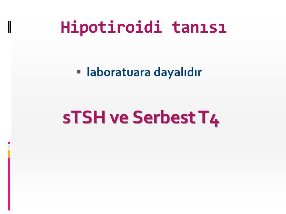 Hipotiroidi tanısı laboratuara dayalıdır sTSH ve Serbest T4