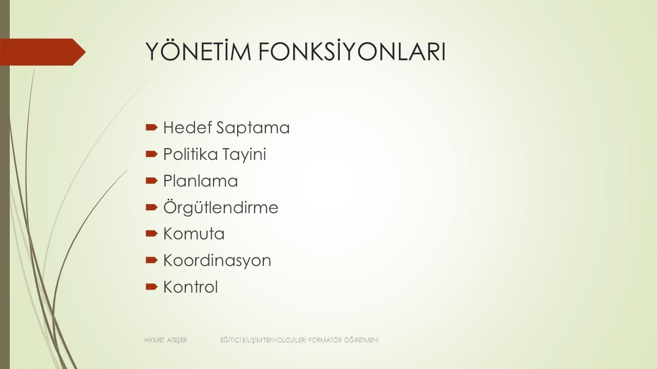 YÖNETİM FONKSİYONLARI
