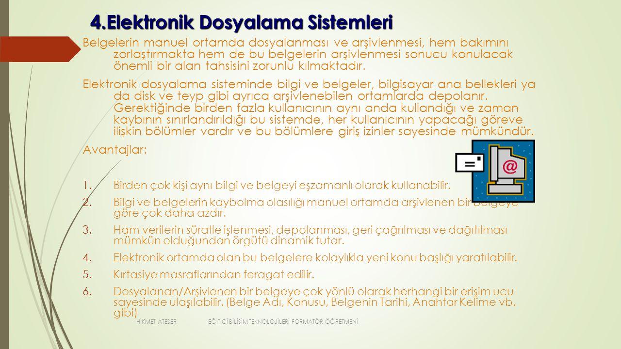 4.Elektronik Dosyalama Sistemleri