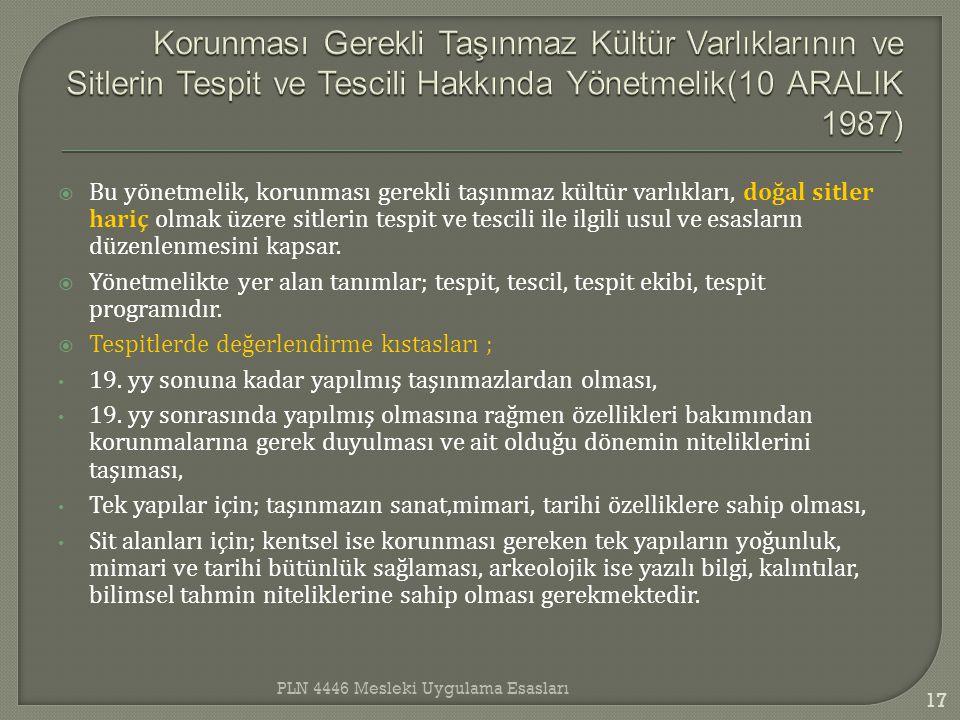 Korunması Gerekli Taşınmaz Kültür Varlıklarının ve Sitlerin Tespit ve Tescili Hakkında Yönetmelik(10 ARALIK 1987)