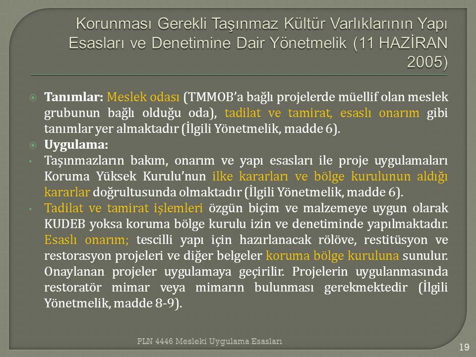 Korunması Gerekli Taşınmaz Kültür Varlıklarının Yapı Esasları ve Denetimine Dair Yönetmelik (11 HAZİRAN 2005)