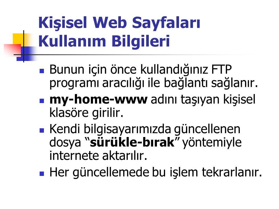 Kişisel Web Sayfaları Kullanım Bilgileri