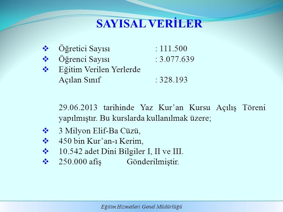 SAYISAL VERİLER Öğretici Sayısı : 111.500 Öğrenci Sayısı : 3.077.639