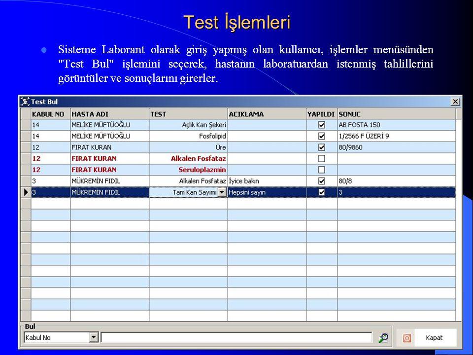 Test İşlemleri