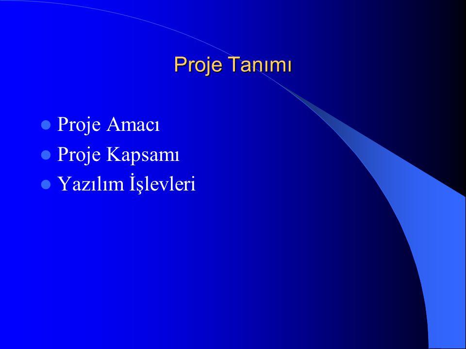 Proje Tanımı Proje Amacı Proje Kapsamı Yazılım İşlevleri