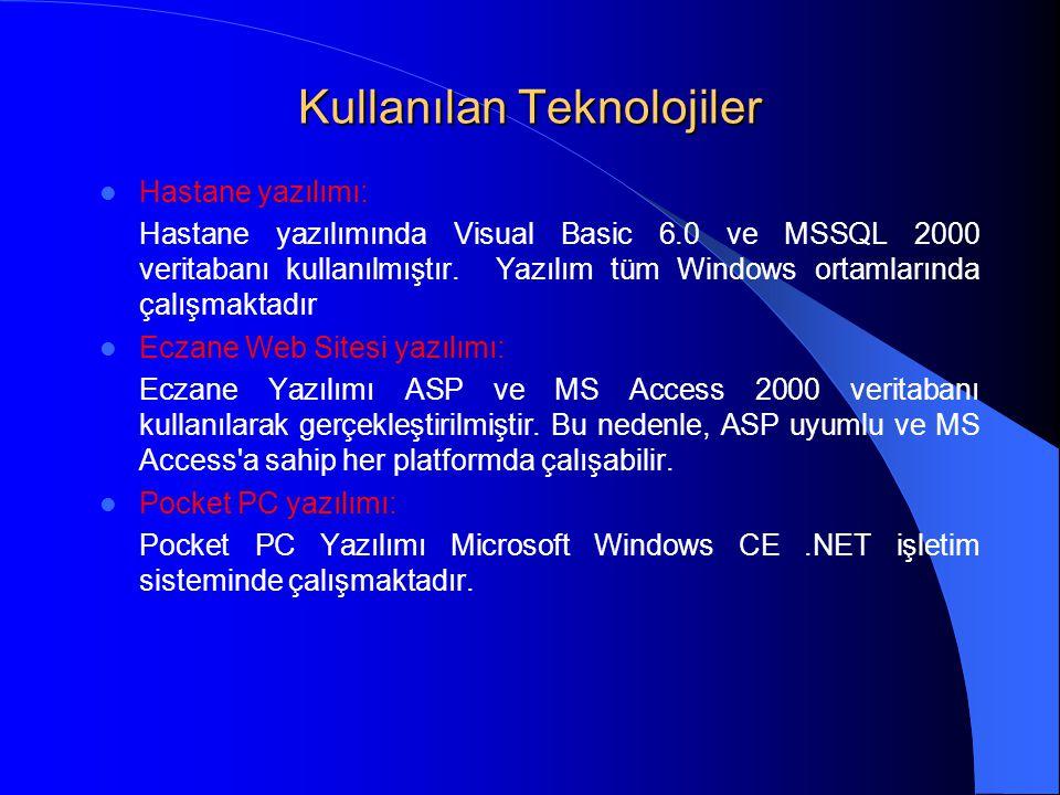 Kullanılan Teknolojiler