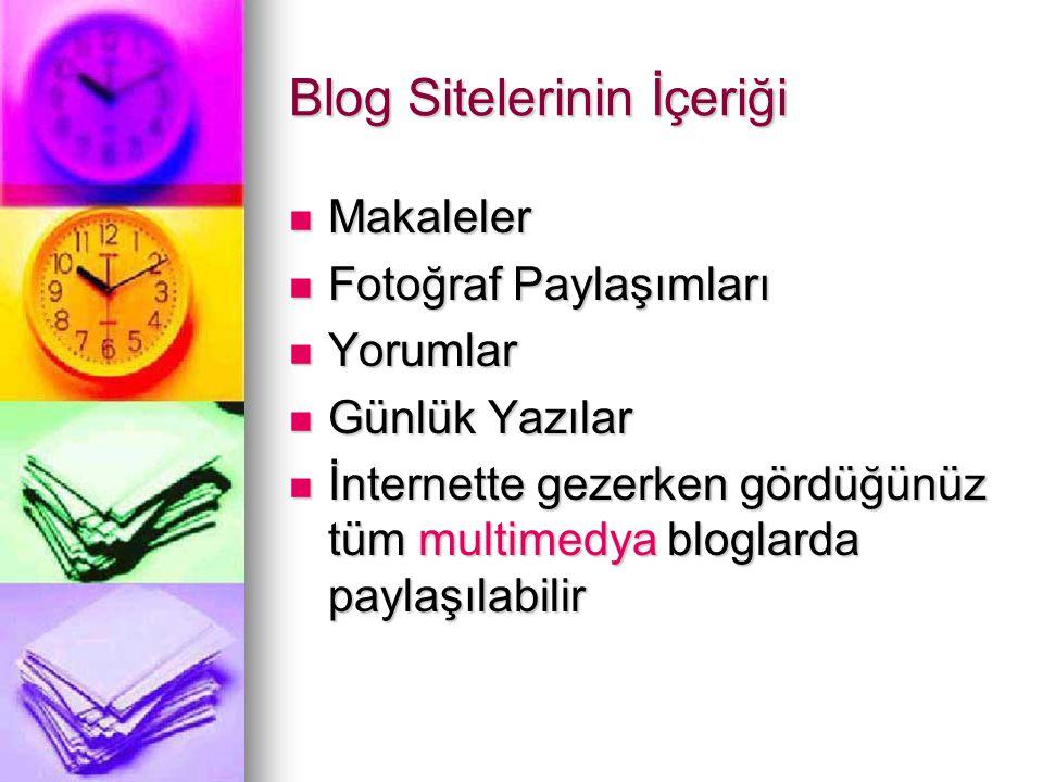 Blog Sitelerinin İçeriği