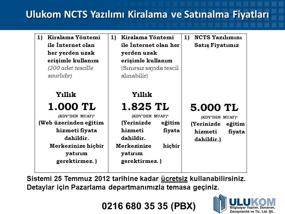 Ulukom NCTS Yazılımı Kiralama ve Satınalma Fiyatları