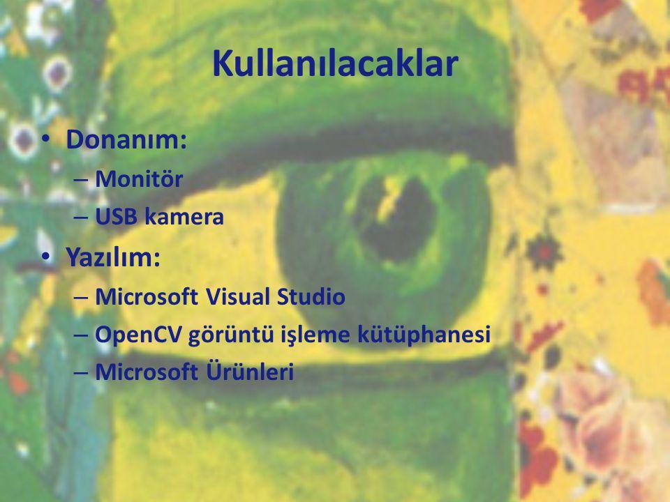Kullanılacaklar Donanım: Yazılım: Monitör USB kamera