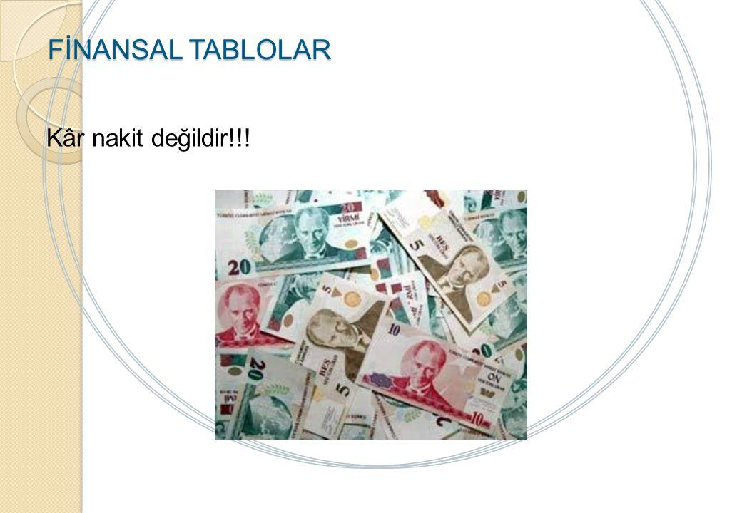 FİNANSAL TABLOLAR Kâr nakit değildir!!! Notlar