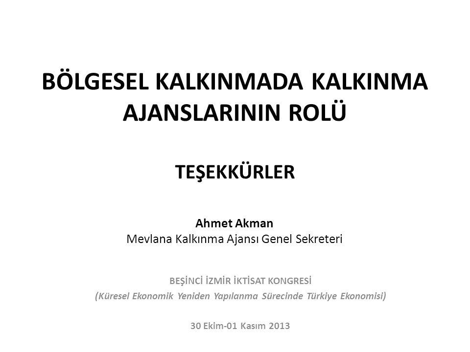 BÖLGESEL KALKINMADA KALKINMA AJANSLARININ ROLÜ TEŞEKKÜRLER Ahmet Akman Mevlana Kalkınma Ajansı Genel Sekreteri