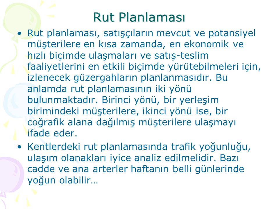 Rut Planlaması