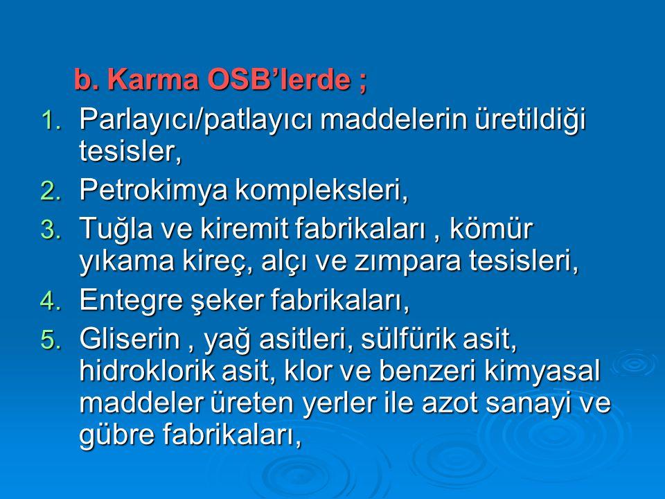 Karma OSB'lerde ; Parlayıcı/patlayıcı maddelerin üretildiği tesisler, Petrokimya kompleksleri,
