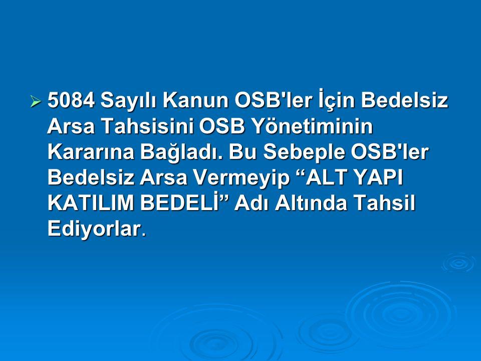 5084 Sayılı Kanun OSB ler İçin Bedelsiz Arsa Tahsisini OSB Yönetiminin Kararına Bağladı.