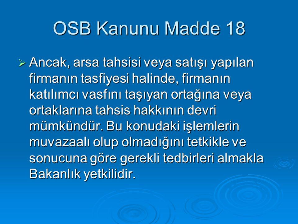 OSB Kanunu Madde 18
