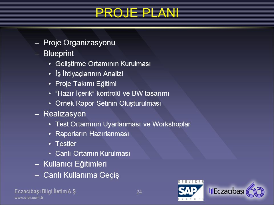 PROJE PLANI Proje Organizasyonu Blueprint Realizasyon