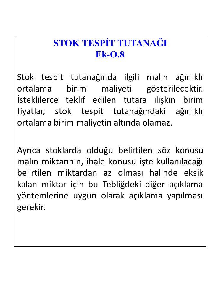 STOK TESPİT TUTANAĞI Ek-O.8.