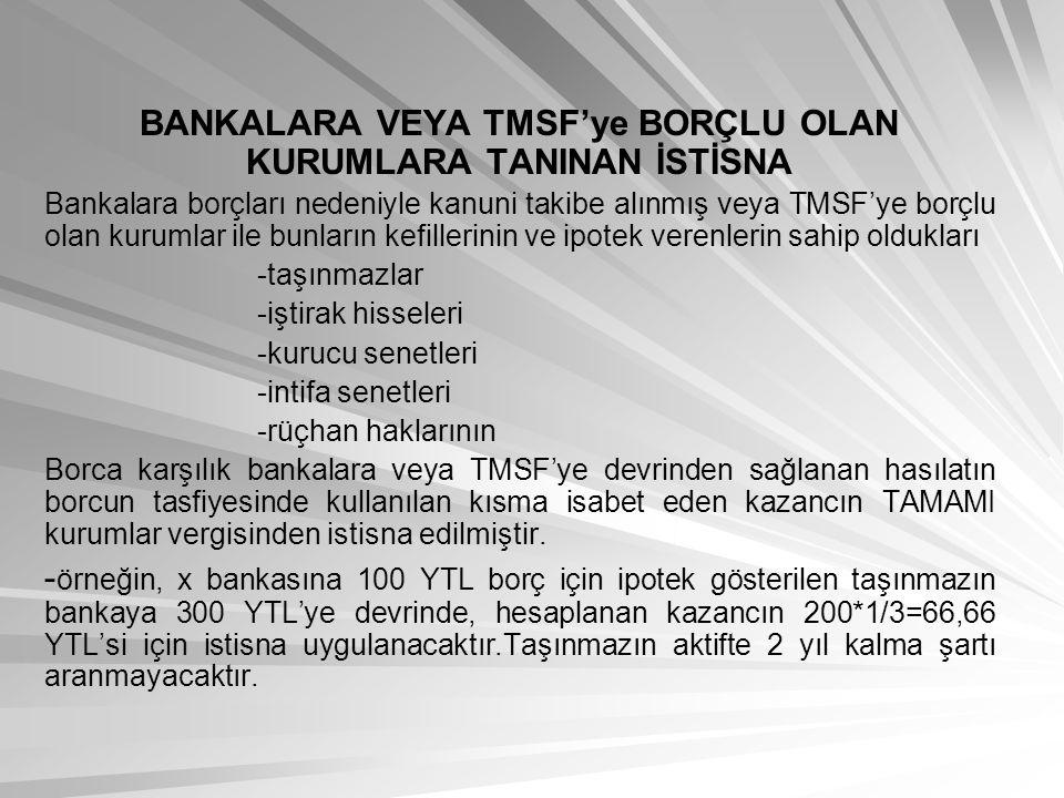 BANKALARA VEYA TMSF'ye BORÇLU OLAN KURUMLARA TANINAN İSTİSNA