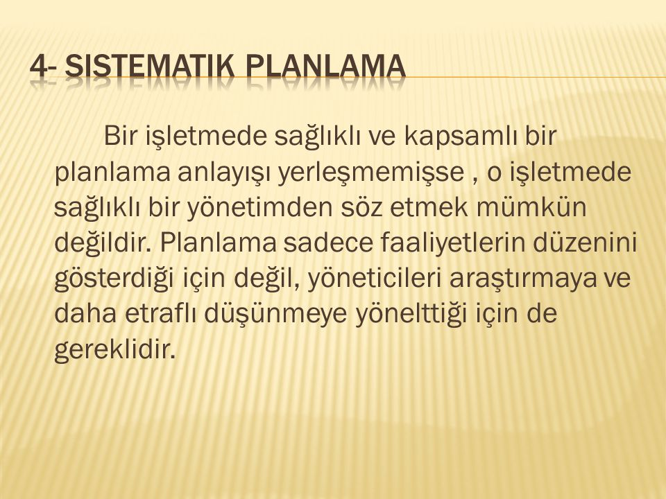 4- Sistematik Planlama