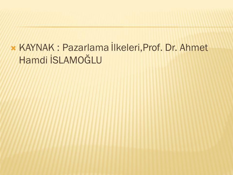 KAYNAK : Pazarlama İlkeleri,Prof. Dr. Ahmet Hamdi İSLAMOĞLU
