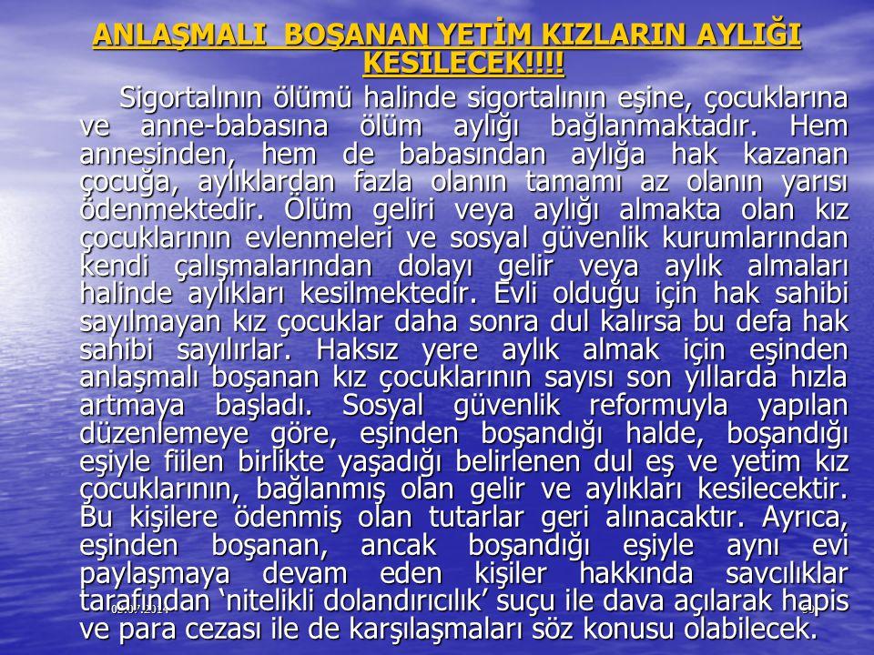 ANLAŞMALI BOŞANAN YETİM KIZLARIN AYLIĞI KESİLECEK!!!!