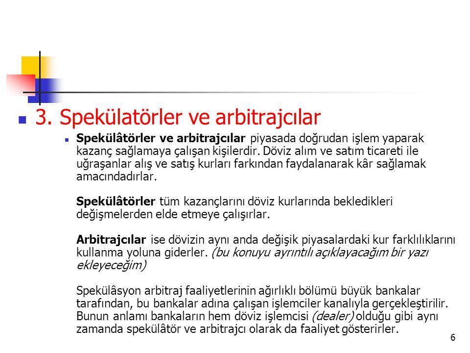 3. Spekülatörler ve arbitrajcılar