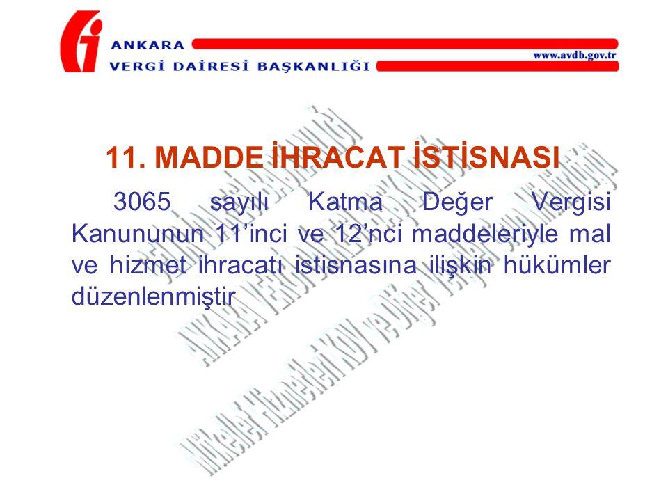 11. MADDE İHRACAT İSTİSNASI