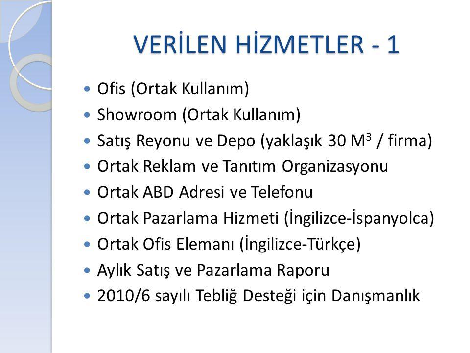 VERİLEN HİZMETLER - 1 Ofis (Ortak Kullanım) Showroom (Ortak Kullanım)