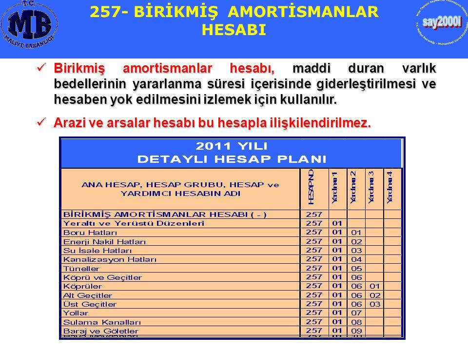 257- BİRİKMİŞ AMORTİSMANLAR HESABI