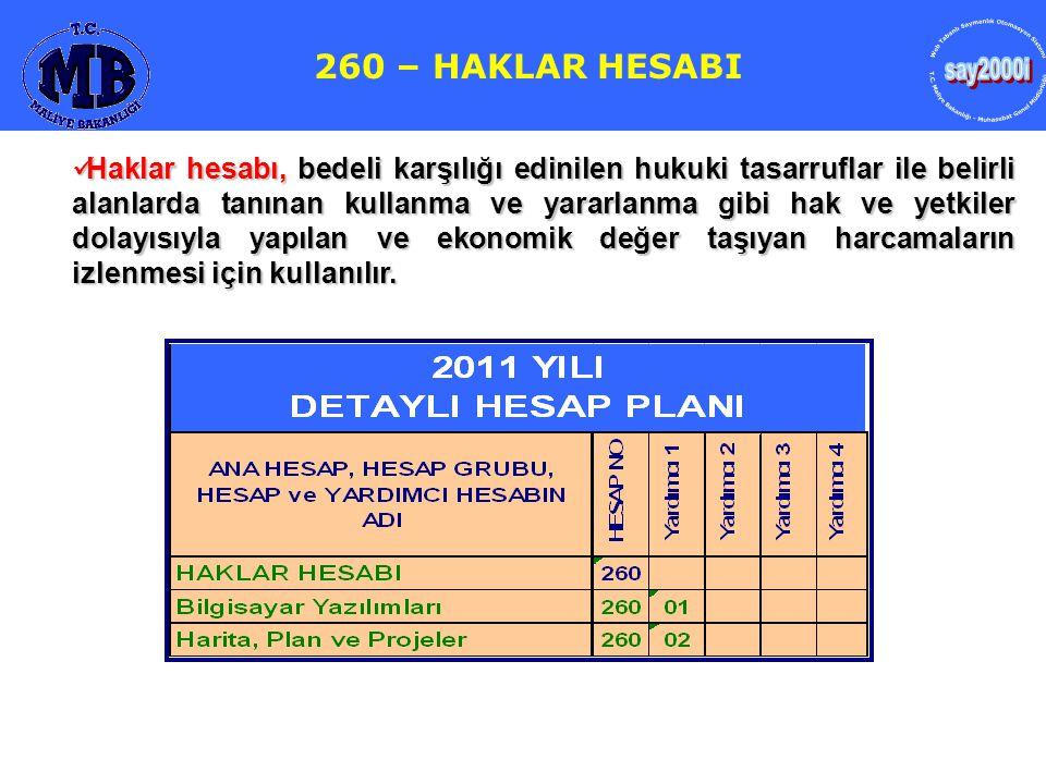 say2000i 260 – HAKLAR HESABI 259- YATIRIM AVANSLARI HESABI