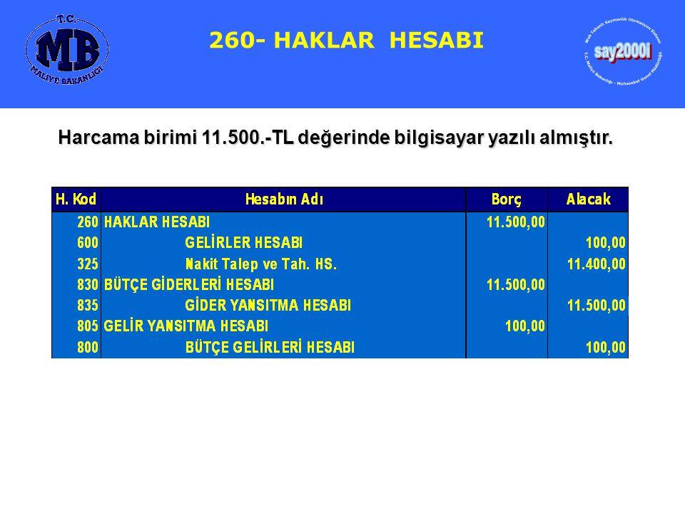 260- HAKLAR HESABI say2000i. Web Tabanlı Saymanlık Otomasyon Sistemi. T.C. Maliye Bakanlığı - Muhasebat Genel Müdürlüğü.