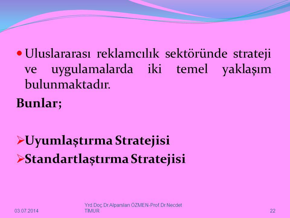 Uyumlaştırma Stratejisi Standartlaştırma Stratejisi