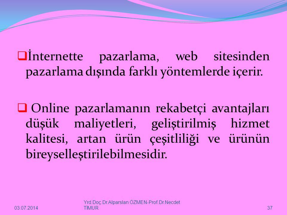 İnternette pazarlama, web sitesinden pazarlama dışında farklı yöntemlerde içerir.
