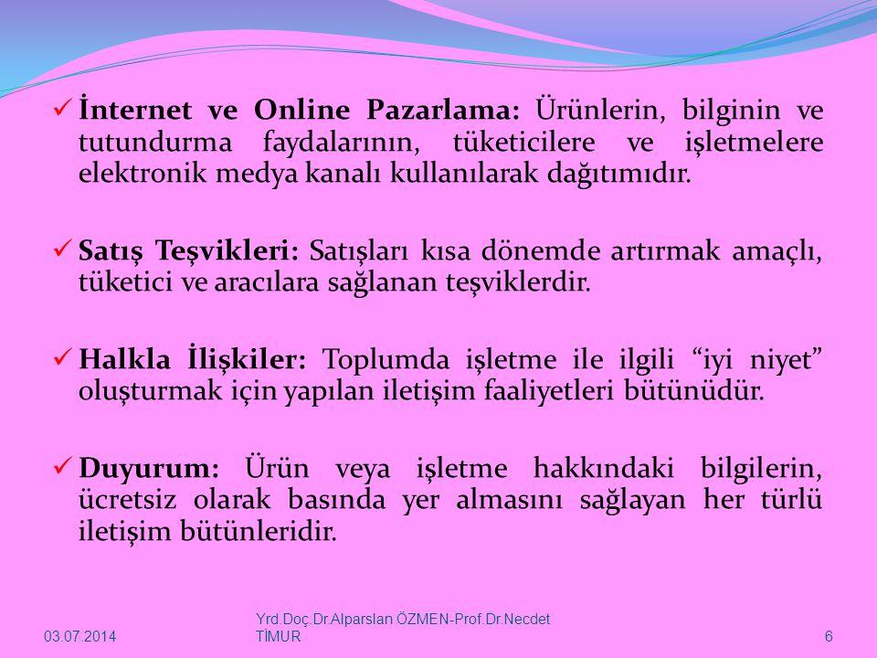 İnternet ve Online Pazarlama: Ürünlerin, bilginin ve tutundurma faydalarının, tüketicilere ve işletmelere elektronik medya kanalı kullanılarak dağıtımıdır.