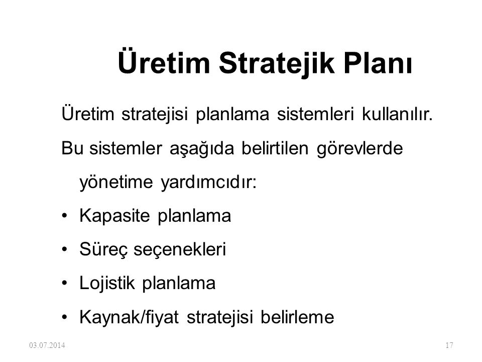 Üretim Stratejik Planı