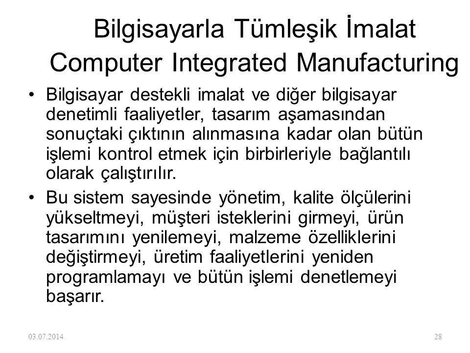 Bilgisayarla Tümleşik İmalat Computer Integrated Manufacturing