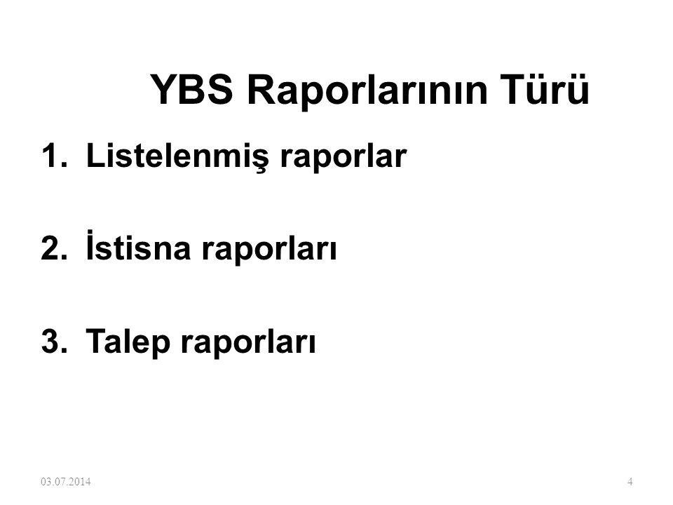 YBS Raporlarının Türü Listelenmiş raporlar İstisna raporları