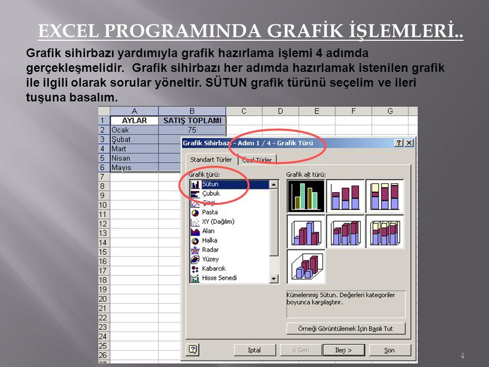 EXCEL PROGRAMINDA GRAFİK İŞLEMLERİ..