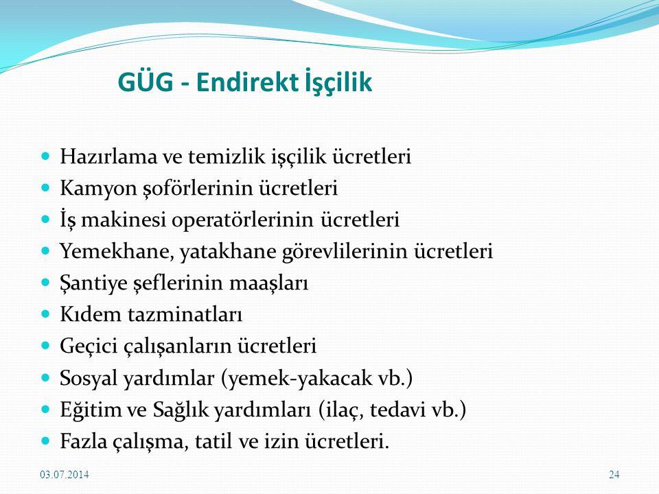GÜG - Endirekt İşçilik Hazırlama ve temizlik işçilik ücretleri