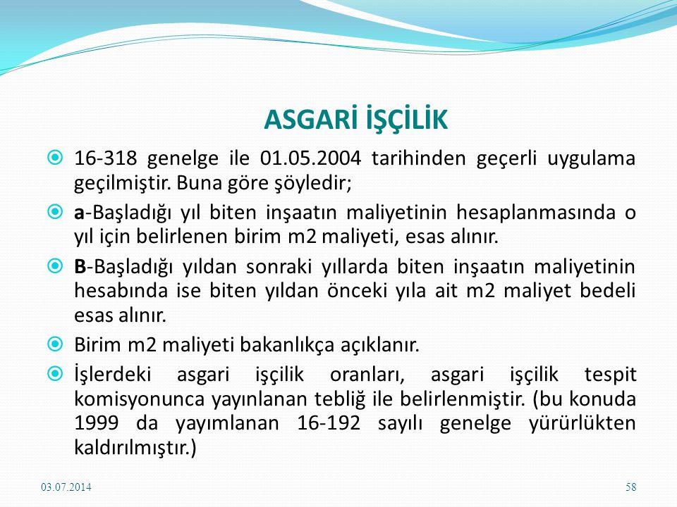 ASGARİ İŞÇİLİK 16-318 genelge ile 01.05.2004 tarihinden geçerli uygulama geçilmiştir. Buna göre şöyledir;